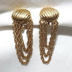 Monet Gold Plated Chain Dangle Clip On Earrings